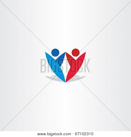 Red Blue People Letter Y Logotype