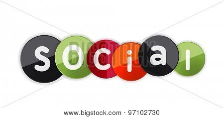 Word social concept on color geometric shapes. Banner, web button. Web illustration or message for online web site, presentation or application