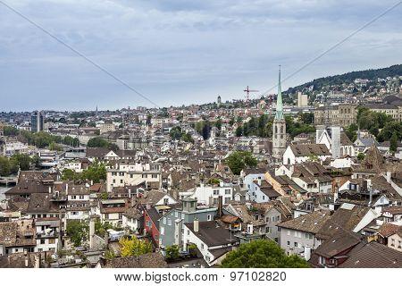 low aerial view of Zurich Switzerland