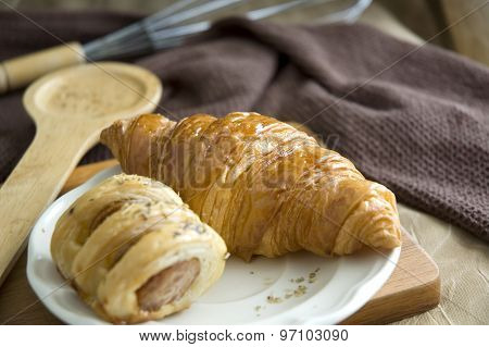 Delicious Croissant And Sausage Roll