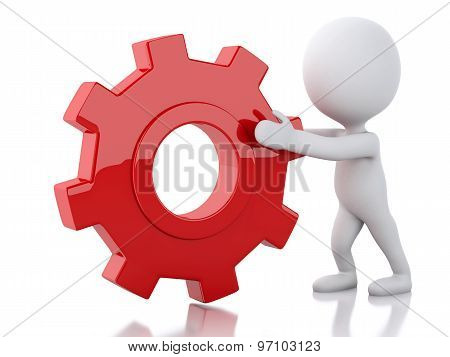 3D White Business People Pushes A Red Gear