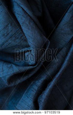 Close Up Of Fine Black Silk Textile