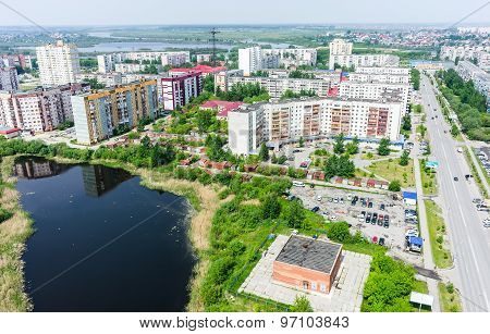 Residential district and Gipsy lake. Tyumen.Russia
