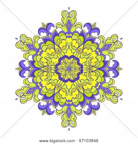 Hand drawing zentangle mandala element in different colors