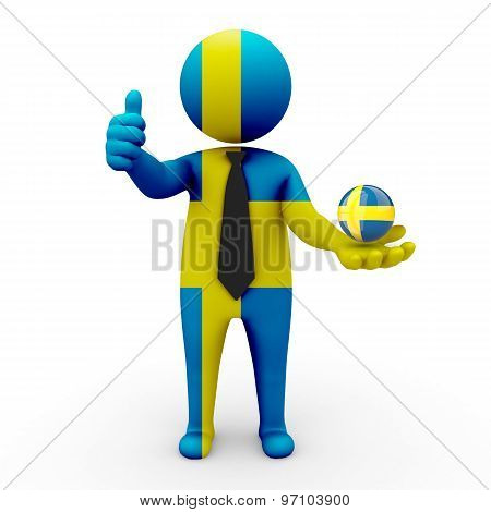 3d businessman people Sweden- in the hands of the spherical icon of Sweden