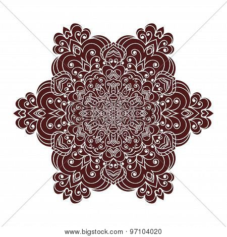 Hand drawing zentangle mandala element in marsala color
