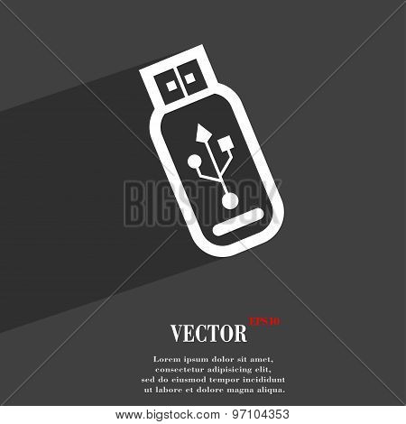Usb Flash Drive Icon Symbol Flat Modern Web Design With Long Shadow And Space For Your Text. Vector