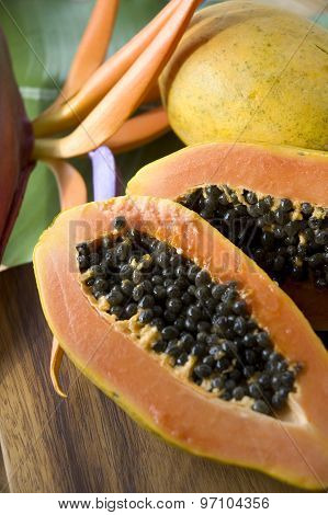 Papaya With Tropical Background