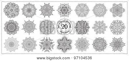 Set of 20 hand drawn zentangle mandala elements