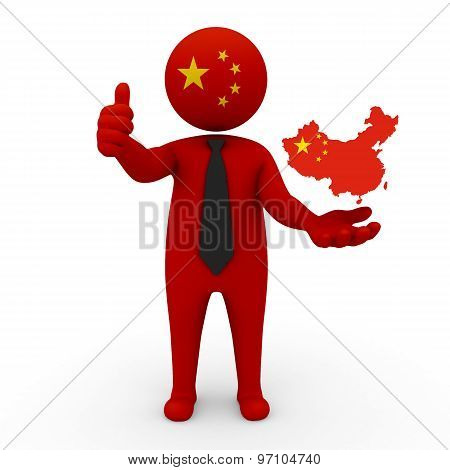 3d businessman people China  - with a map of the flag of China