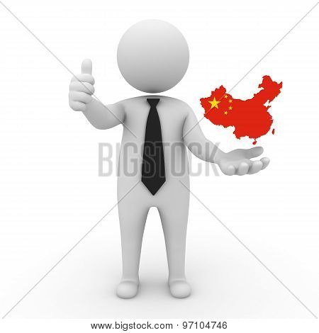 3d businessman people - with a map of the flag of China