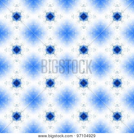 Seamless floral pattern white blue shining