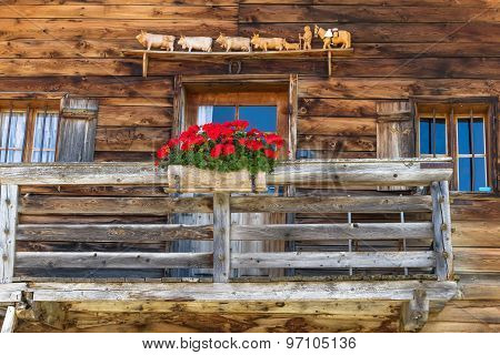 Rustic wall and window in a alpine hut