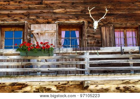 Rustic old Alpine hut architecture details