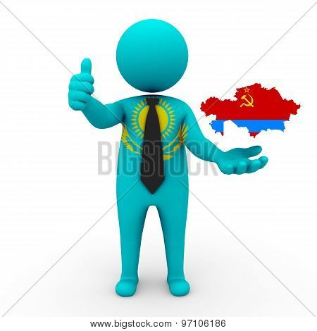 3d businessman people Kazakhstan - with a map of the flag of Kazakh SSR