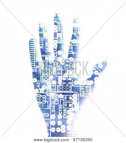 Human palm with microchip picture on it isolated on white
