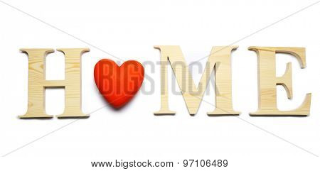 Decorative letters forming word HOME with heart isolated on white