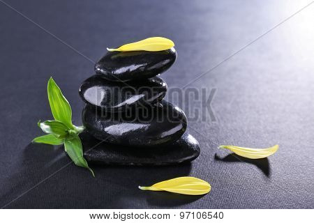 Stack of spa stones with green leaves and flower petals on dark background