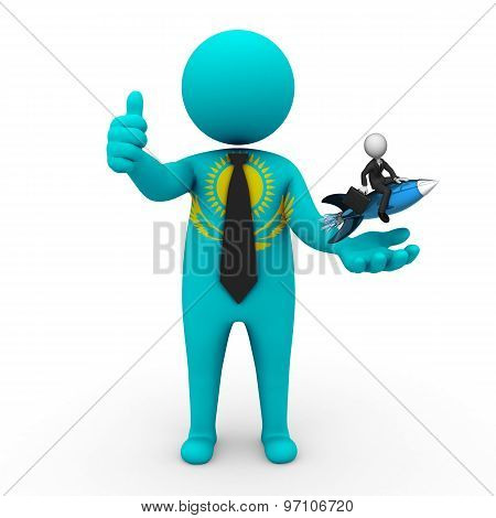 3d businessman people  Kazakhstan - with a missile in the hands and grow your business