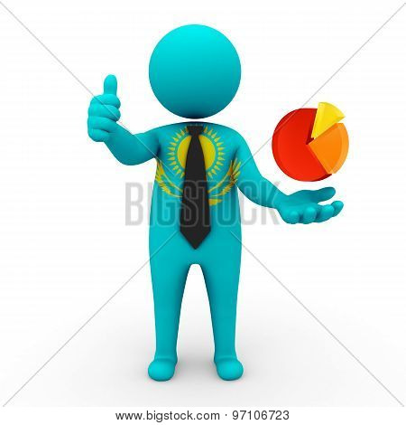 3d businessman people Kazakhstan - with the network schedule