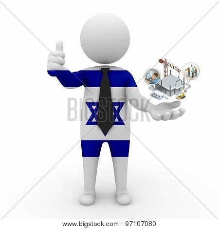 3d businessman people Israel - construction and innovative technologies