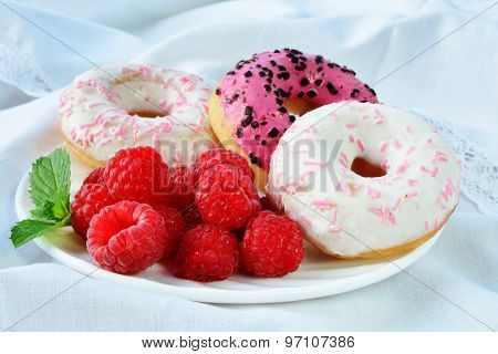 Fresh Raspberries Vanilla And Raspberry Flavored  Mini Donuts With Topping