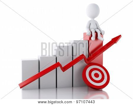 3D White People With Business Statistic Graph And Red Target.