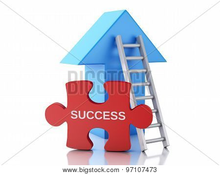 3D Puzzle Pieces, Arrow And Stair. Success Concept