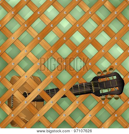 Pattern With Crossed Planks And Guitar