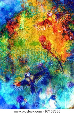 Songbirds Flattering Above A Flower, On  Color Background, Abstract Spots Structure