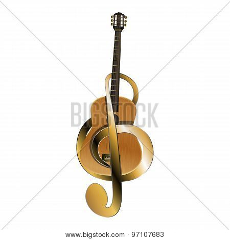 Acoustic Guitar Belted Treble Clef
