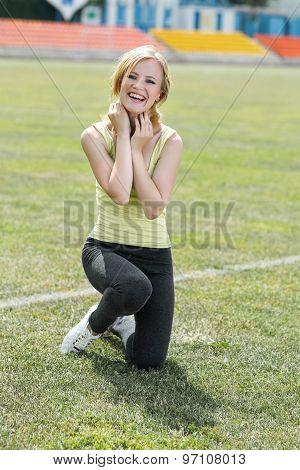 Smiling girl in sport