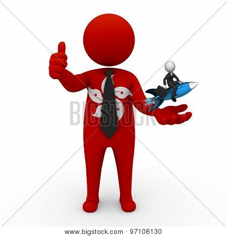 3d businessman people Hong Kong  - with a missile in the hands and grow your business