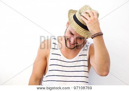 Young Man Laughing With Hat