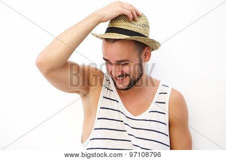 Young Man With Beard And Hat Laughing