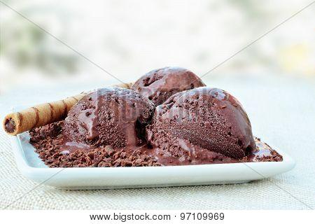 Chocolate Icecream Closeup On White Porcelain Dish