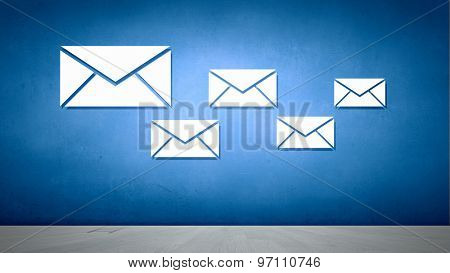 Conceptual image with ladder reaching email symbol