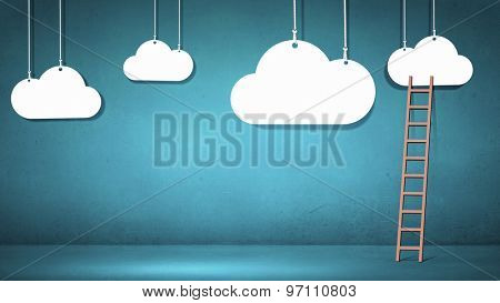 Conceptual designed image with ladder to cloud