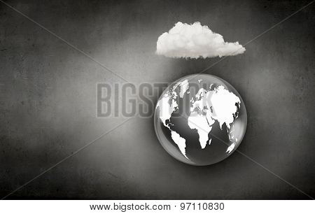 Computing concept with Earth planet and cloud
