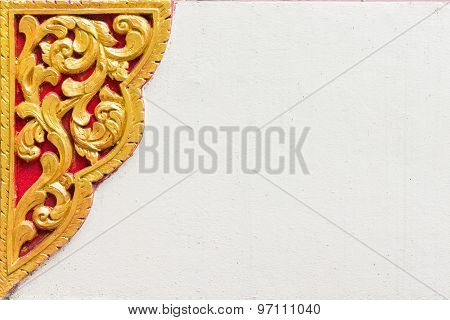 Thai Style Molding Art On The White Wall
