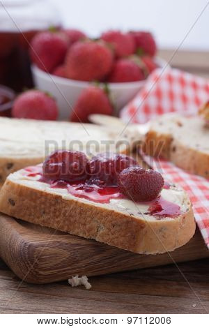 overhead view on healthy breakfast with strawberry jam