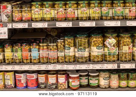Selection Canned Foods In A Supermarket Siam Paragon In Bangkok, Thailand