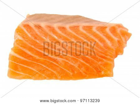 Raw salmon fillet isolated on a white background