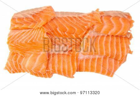 Raw salmon fillets isolated on a white background
