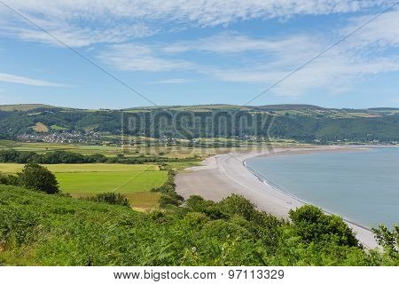 Somerset coast view to Porlock Weir on the edge of Exmoor England UK