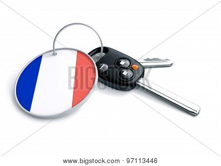Car Keys With France Flag As Keyring.