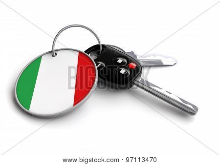 Car Keys With Italy Flag As Keyring.