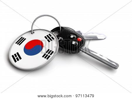 Car Keys With Korea Flag As Keyring.