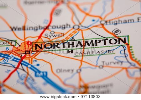 Northampton City On A Road Map
