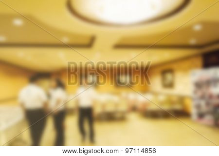 Abstract Blurred People In Conference Room, Education Concept